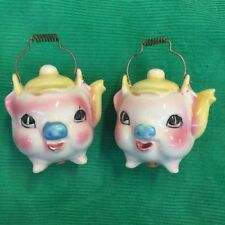 Vintage 1960s Pink Pig Face Teapot Shape Salt and Pepper Shakers Retro Cuteness