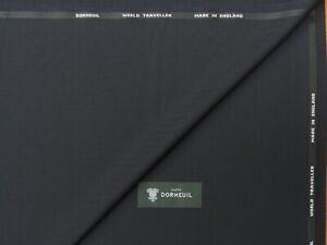 DORMEUIL DK NAVY HERRINGBONE WOOL SUITING FABRIC - MADE IN ENGLAND 3.5METRES