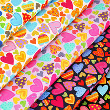 Cotton Fabric per FQ Kawaii Flower Gingham Stripe Polka Dot Spot Heart Quilt VR9