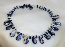 Vtg Blue Dyed Polished Abalone Shell Seed Pearl Spacers Fringed Bib Necklace 18""