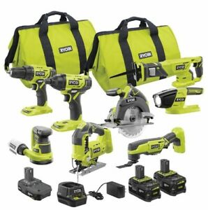 Ryobi ONE+ 18V Cordless 8-Tool Combo Kit with 3 Batteries and Charger