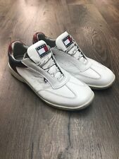 Mens White Tommy Hilfiger Leather Shoes Trainers - Size UK 9
