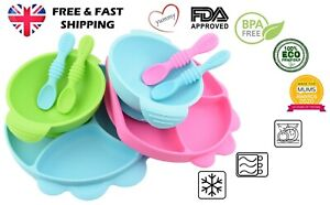 Baby Toddler Weaning Silicone Suction Plate Bowl with Lid & Matching Spoon Set
