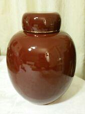 VINTAGE  reddish-brown big GINGER JAR w/ LID gold Gilt Excellent marked