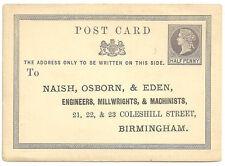 1/2D Qv Post Card Pre Printed Address Naish Osborn & Eden Birmingham