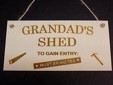 """""""Grandad's Shed - Must Bring Tea"""" Novelty Wooden Hanging Plaque Garage Sign Gift"""