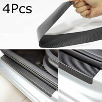Black Auto Anti Scratch 3D Carbon Fiber Car Door Plate Sticker Sill Scuff Cover