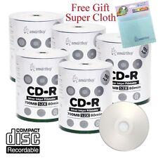 500 Smartbuy 52X CD-R Silver Inkjet Hub Printable Disc + FREE Micro Fiber Cloth
