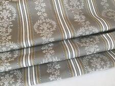 Vintage French Cotton Damask Ticking fabric Grey khaki Stripes Upholstery