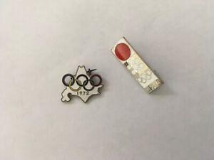 1972 SAPPORO OLYMPIC PIN BADGE JAPANESE 2 PINS