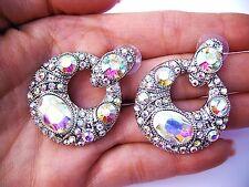 AB Crystal Earrings wedding bride bridal ballroom latin dance Pageant Prom Long