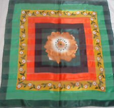 """BLACK GREEN GOLD MULTI COLOR FLORAL POLYESTER SCARF SARONG WRAP Approx 40"""" x40"""""""