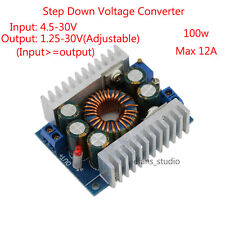 100W DC-DC Buck Step-down Converter Module 4.5-30V to 0.8-30V 12A Laptop LED Car