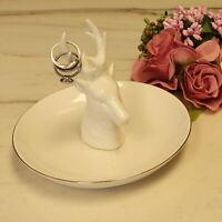 White Trinket Tray w/Deer Antler Head Ceramic Jewelry Treasure Holder Ring Tray