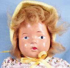 Vintage Composition Girl Doll 15in Blonde Hair Repainted Eyes Jointed Arms Legs