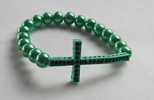 "Sideways Cross Bracelet 10 mm Green Pearls w/Rhinestones 7.5"" Stretch"
