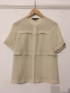 French Connection Cream Size 8 Blouse Short Sleeve Excellent Condition