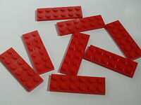 Lego 8 red plates 2 x 6 / 8 plates rouges 2 x 6