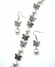 PEARL & BUTTERFLY BRACELET & EARRING SET EXCELLENT QUALITY WITH ORGANZA GIFT BAG
