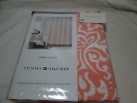New Tommy Hilfiger OMBRE ISLAND Fabric Shower Curtain 72x72 ~ Coral & White