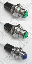 (3) 12V Dash Indicator Lights 2 Green Turn Signal 1 Blue High Beam