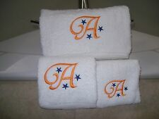 Embroidered Personalised Bath Towel Set-Bath Towel, Hand Towel and Wash Cloth