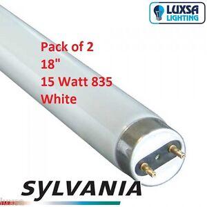 x2 Sylvania 18 inch 15W 15 Watt 835 White tube T8 F15/835 blub 438 mm