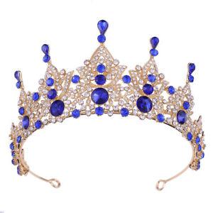 Baroque Queen Crown Rhinestone Wedding Tiaras for Bride Womens Crystal Headbands