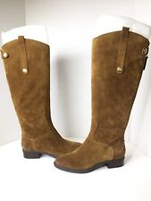 Sam Edelman Penny Tan Caramel Brown Suede Leather Tall High Riding Boots Size 6