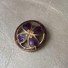BOUTON Ancien Emaillé Trèfle Mauve 1900 22 mm - French Enamel Button