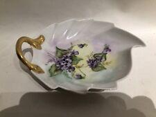 Vintage P T Bavaria Tirschenreuth Porcelain Leaf Shape Dish Purple Violets