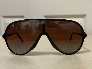 Vintage Wings Bausch & Lomb Double Gradient Mirrored Rose Lens Black Sunglasses