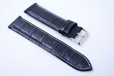 Herren Uhrenarmband Echtleder band Bracelet 20 mm Schwarz weiss Naht Kroko