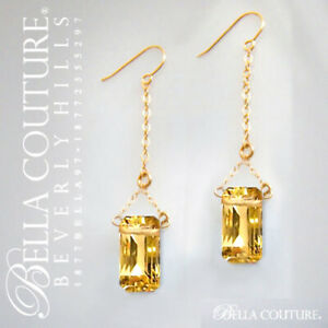 $795 RARE CITRINE BAGUETTE 14K SOLID GOLD ART DECO DIAMOND DANGLE DROP EARRINGS