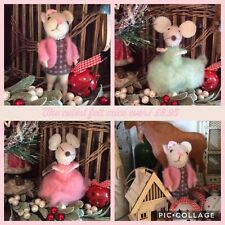 Mint Green Gifting Mouse Christmas Tree Decoration Felt Animal Hanging Ornament