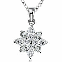 White Cubic Zirconia in Sterling Silver with Snowflake Pendant