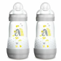MAM Easy Start Self Sterilising Anti-Colic Bottle, 260 ml, Grey, Pack of 2