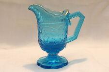Milchkännchen - Sahngießer - Pressglas Blau - Goldrand - Art Deco - ca. 250g