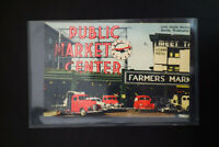 US 1940 Stamped Postcard of Trucks at Seattle Farmer's Market