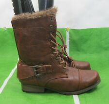 new lady Brown Lace Up Military Combat Winter Sexy Ankle Boots WOMEN Size 7.5