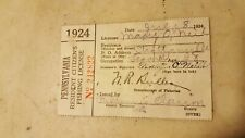 1924 Pa. Resident Fishing License Paper Only That Came With Button #242822