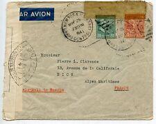LETTRE CENSURED CENSURE ETATS UNIS NEW YORK POUR NICE / AIR MAIL PAR AVION 1941