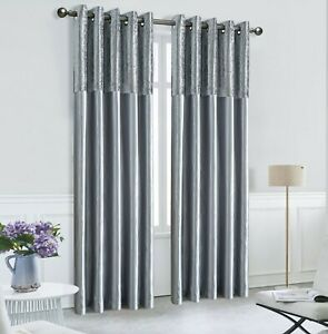 SILVER CRUSHED VELVET &  FAUX SILK 2 TONE CURTAINS EYELET RING TOP FULLY LINED