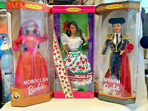 Lot of 3 Dolls of the World Barbie Moroccan, Spanish, Mexican Collector Ed Toy