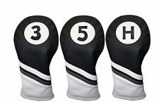 Majek Golf Headcover Black White Leather Style 3, 5, H Woods Hybrid Head Covers