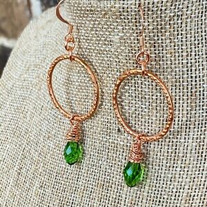Copper and Peridot Green Quartz Crystal wrap Teardrop Earrings Hand Crafted Gift