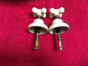 Old Porcelain Hot Cold Faucet Handles W.Stems &Escutcheon architectural hardware