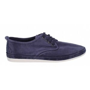 Flossy RAUDO Mens Summer Casual Breathable Canvas Lace Ups Plimsolls Navy