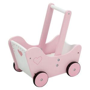 Puppenwagen Holzpuppenwagen Kinderwagen Lauflernwagen Lauflernhilfe Weiß/Rosa