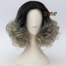 Ombre Lolita Short Curly Black & Gray Blonde Retro Cosplay Wig Heat Resistant